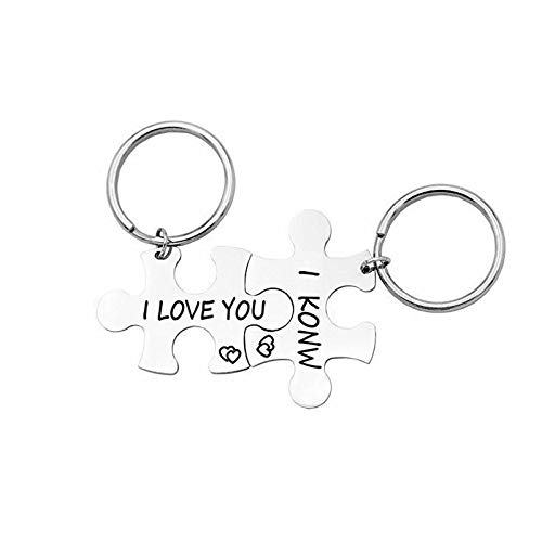 Amody Cable de Llavero de Acero Inoxidable Plata Puzzle i Love You i Know para Hombres Llaveros...