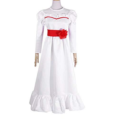 Annabelle Role Play Disfraz de Halloween Horror Scary Vestido Blanco para niños Adultos Mujeres...