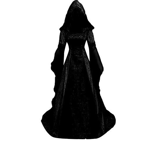 Vestido de Las Mujer,Medieval Traje de Las Señoras Retro Literario de Manga Larga de Encaje con...