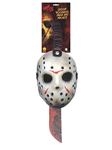 Viernes 13 - Máscara y machete de Jason Voorhees para Halloween, Talla única (Rubie's 8785)