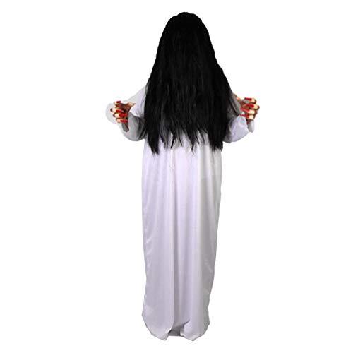 Amosfun Disfraz de Fantasma de Mujer de Halloween Ropa Blanca y Ropa de Fantasma de Terror de...