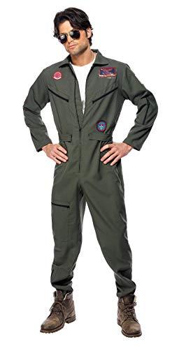 Smiffy'S 36287L Disfraz De Top Gun Con Mono, Placas De Identificación Y Gafas, Verde, L - Tamaño...