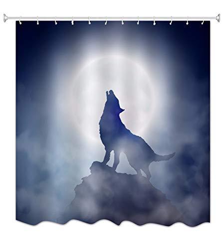 A.Monamour Noche Oscura Lobo En Silueta Aullando A La Luna Llena En El Acantilado De La Montaña...