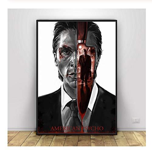 BUTUBUKUAI American Psycho Horror Movie Fan Pintura al óleo Impresiones del Cartel Lienzo Imagen de...