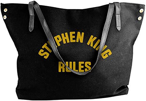 Bolso de Lona para Mujer Stephen King Rules Ladies Canvas Shoulder Bag Casual Handbag