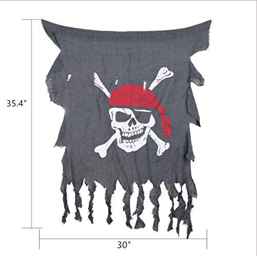 Mitef - Bandera de Halloween, diseño de Calavera Pirata, Bandera Colgante, 76,2 cm