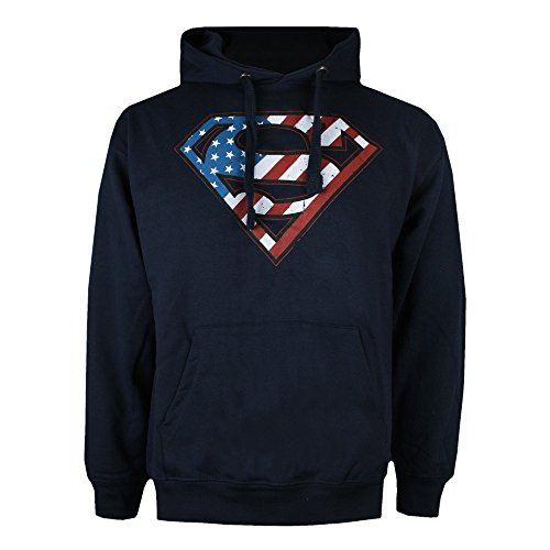 DC Comics Superman Flag Sudadera con Capucha, Azul Marino, XL para Hombre
