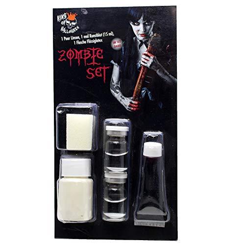 Kit de Zombi con lentillas Blancas de Contacto, Leche de látex y Sangre-Halloween Maquillaje...