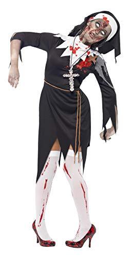 Smiffys Disfraz de monja zombi con sangre, Negro, con vestido, herida de látex, cinturón