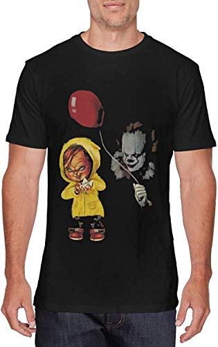 Pzrruot Chucky and Pennywise - Camiseta de Manga Corta para Hombre, Color Negro