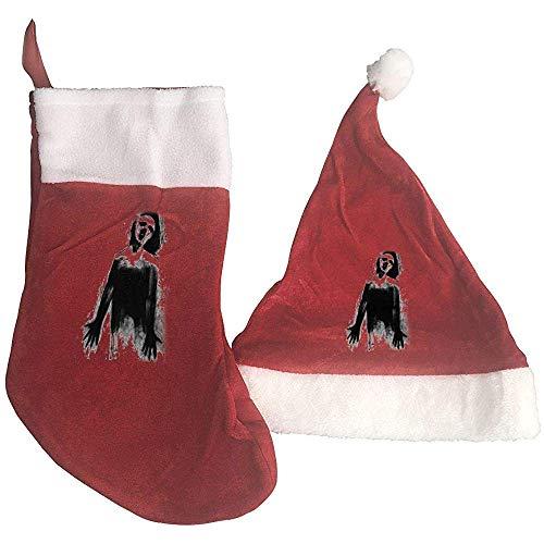 BUXI Printing Adornos De Navidad,Terror Ghost Print Christmas Stockings and Hat Sombrero De Santa +...