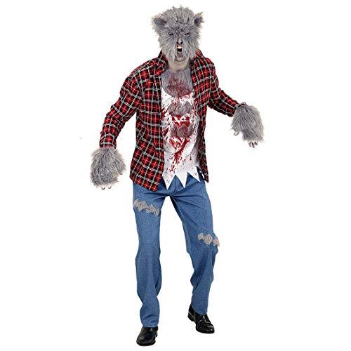 Sangriento Outfit de Hombre Lobo con máscara y Garras/M (ES 50) / Escalofriante Disfraz de Lobo...