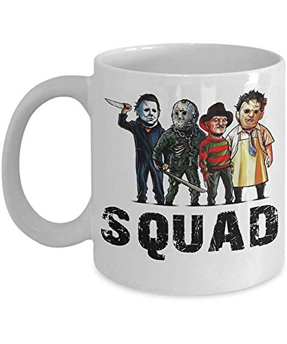 Squad Coffee Mug - Squad Michael Myers Jason Voorhees Freddy Krueger Leatherface - Halloween, Squad...