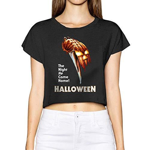 Vdaras - Camiseta de Manga Corta para Mujer, diseño de película de Terror The Night He Come Home...