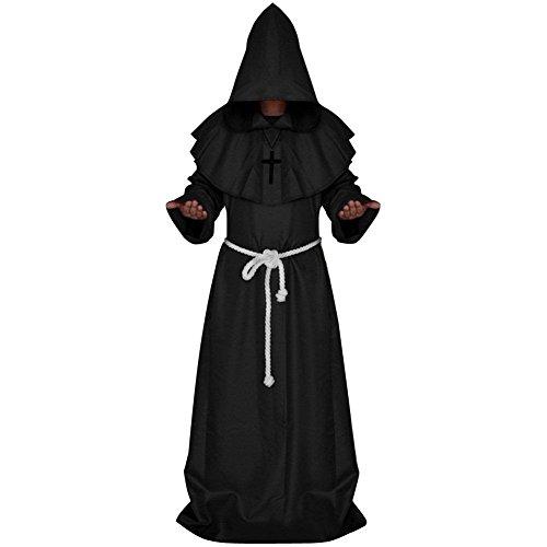 Prettycos Adultos Disfraz de Monje Verdugo Sacertote Traje Medieval con Cruz Cosplay para Halloween...