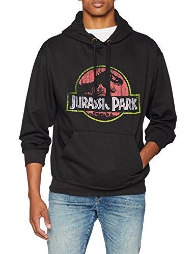 Jurassic Park Distressed Logo Hood Sudadera con Capucha, Negro (Black Blk), M para Hombre