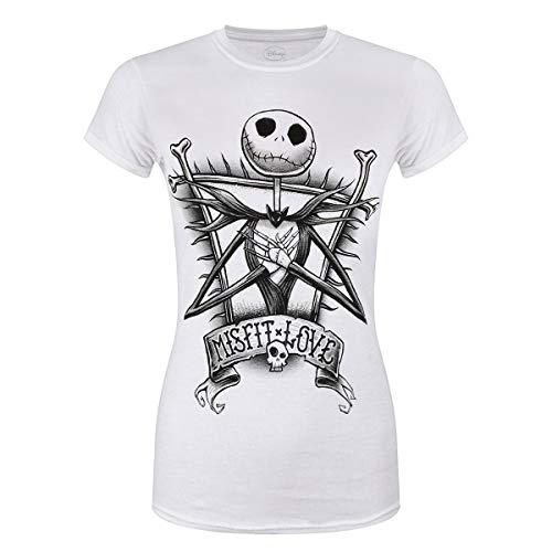 Pesadilla Antes de Navidad - Camiseta Misfit Love para Chica Mujer (S) (Blanco)