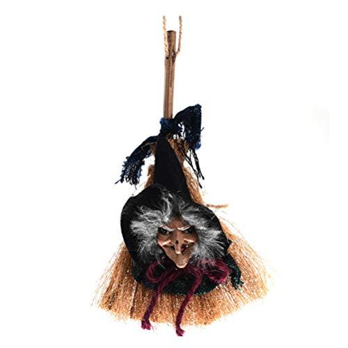 Amosfun Halloween Colgante Bruja Encanto muñeca Bruja Escoba Bruja Ornamento Brujo Decoraciones...