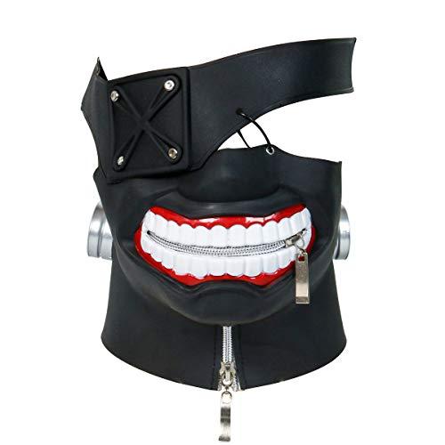 Nofonda Nuevo Tokyo Ghouls Ken Kaneki 3D Máscara Negro,PU Cuero,Sólida y Realista, Disfraz de...