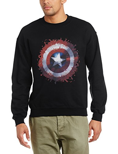 Marvel Avengers Assemble Captain America Art Shield Sudadera, Schwarz/Schwarz, XL para Hombre