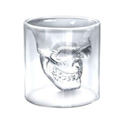 Vaso de 74 ml de calavera de cristal Paquete de 4 by CASCACAVELLE