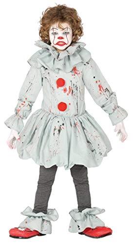 Guirca - Disfraz de Payaso Asesino Asesino - Disfraz para niños de 7 a 9 años - Color Gris y Rojo...