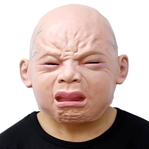 CreepyParty Novedad Fiesta de Disfraces de Halloween Máscara para la Cabeza de Látex Bebé Llorón