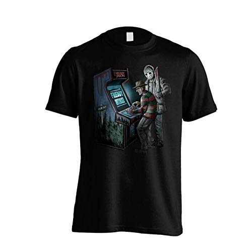 Camiseta de manga corta para hombre, diseño de Freddy vs Jason, color negro (S-XL) Negro S