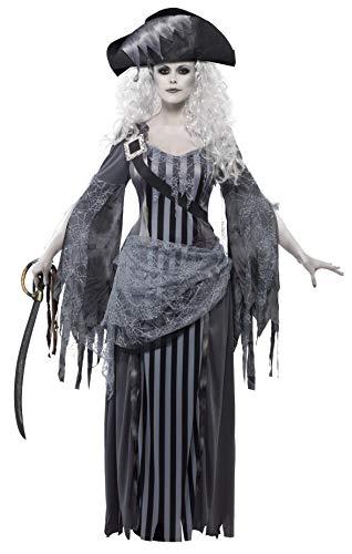 Smiffys- Disfraz de Princesa de Ghost Ship, Gris, con Vestido y Sombrero, Color, M - EU Tamaño...