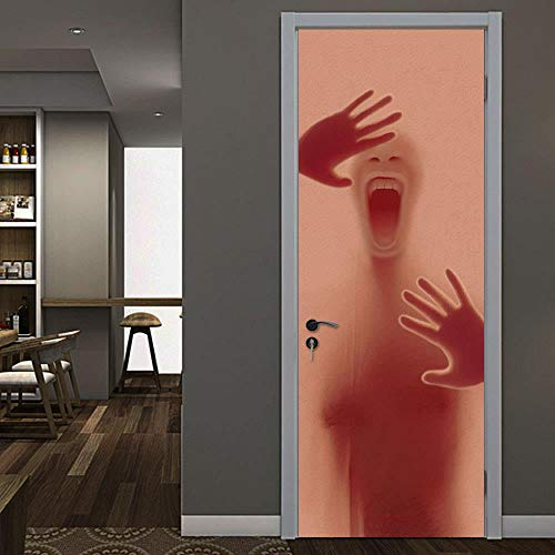 Silueta de terror rojo Adhesivo decorativo visual calcomanía ilustración arte hogar escenografía...