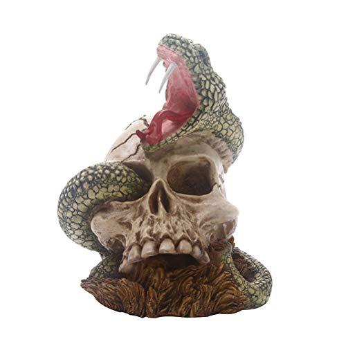 AMOSFUN Cabeza de Serpiente de Halloween Decoración Cabeza de Serpiente Cráneo Resina Adorno...