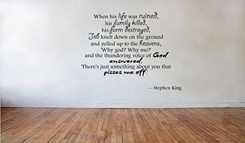 Adhesivo de vinilo extraíble para pared con texto en inglés 'When his life-Stephen King'