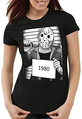 style3 Jason 1980 Camiseta para Mujer T-Shirt Halloween Horror Voorhees, Talla:S