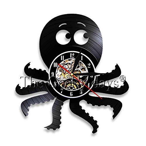 Lanlugg 1 PiezaReloj de Pared Ocean Animal Octupus Disco de Vinilo Relojes de Pared Relojes...