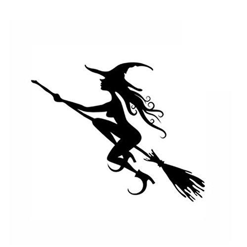 VORCOOL Feliz Halloween Joven Hermosa Bruja Volando Tumba Tatuajes de Pared Pegatinas de Ventana...