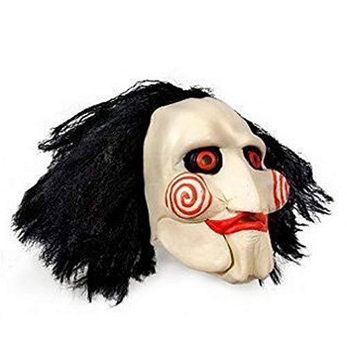 Máscara SAW JIGSAW con pelo sintético - Perfecto para carnaval y Halloween - Disfraz de adulto -...