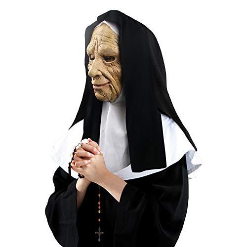 Máscara de Monja con Velo, Accesorios de Disfraces de látex de Halloween Máscara Facial de...