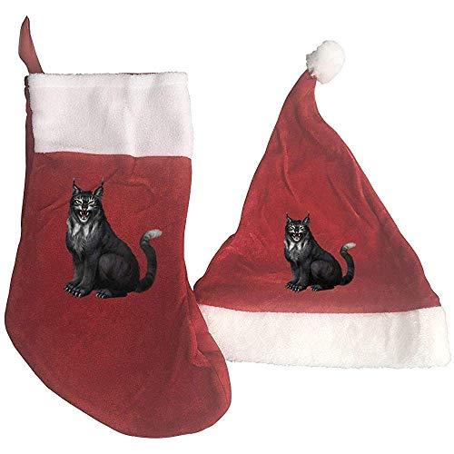 Calcetín De Decoraciones,Terror Lynx Print Medias Y Sombrero De Navidad Sombrero De Santa +...