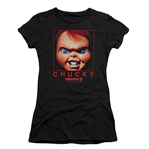 Playera infantil de película de terror Chucky Box Close Up Juniors Sheer - Negro - Large