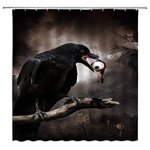 xuelizhou Cortina de Ducha de Cuervo Negro, Cementerio de Terror, Halloween, Fantasma, decoración...