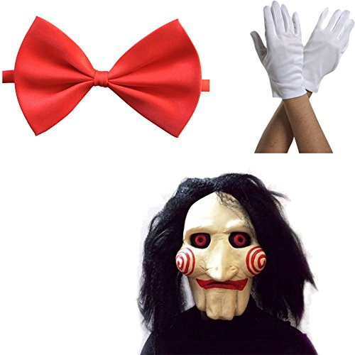 Máscara Saw Jigsaw con Pelo sintético + Corbata de moño + Guantes Carnaval y Halloween - Disfraz...