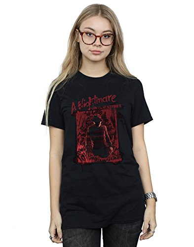 Absolute Cult Nightmare on ELM Street Mujer Freddy Silhouette Camiseta del Novio Fit Negro Small