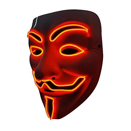 SOUTHSKY Christmas LED Mascara Disfraz de Luces Neon Led Brillante V Vendetta Mask EL Wire Light Up...