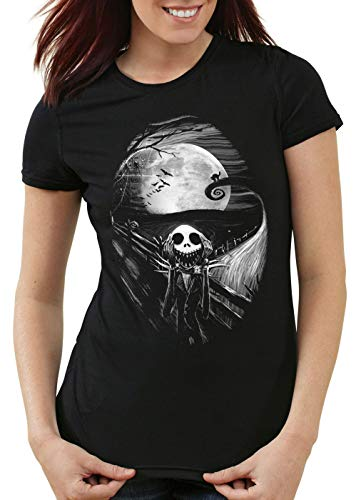 style3 Munch Nightmare Camiseta para Mujer T-Shirt Grito Christmas Before Navidad, Talla:XS
