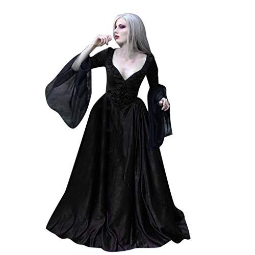 Fossenfeliz Disfraz Halloween Mujer de Cuello Cuadrado, Disfraces Medievales Mujer de Bruja -...