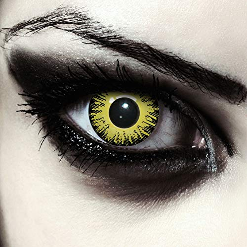Designlenses, Dos lentillas de color amarillo para Halloween Pennywise disfraz de doce mes sin...