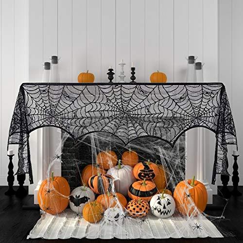 KATOOM Chimenea Tela decoración 3pcs telaraña elástica con arañas plásticas para adornar...