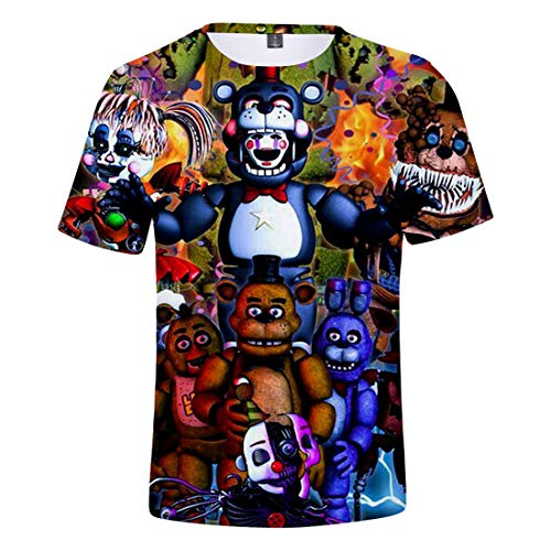 CTOOO Five Nights At Freddy Impresión Digital 3D Adulto Camiseta Manga Corta para Hombres Y Mujeres...