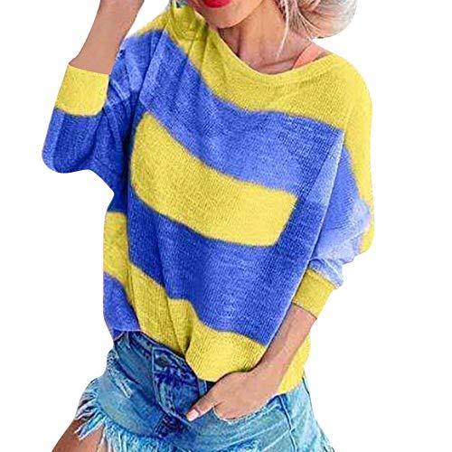 JFHGNJ Mujeres Casual Rayas Tshirt Patchwork O-Cuello de Manga Larga Camisetas Sueltas Tops Verano...