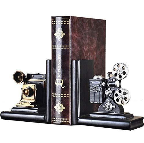 E-isata - Sujetalibros para estantes, diseño de proyector de cine antiguo, vintage, hipster,...